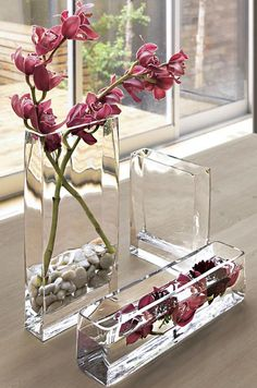 Make the most of minimalism with clear glass and geometric shapes.