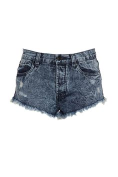 <p>Mid rise denim short with frayed hem and side seam rise. 100% cotton</p>