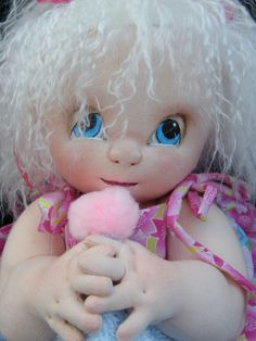 """Baby Girl Soft Sculpture / needle sculpted cloth baby doll 17"""" Tilda. £50.00, via Etsy.love love her eyes"""