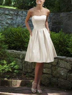 Alluring Satin A Line Bridesmaid Dress Ivory Dropped Bridesmaid Gown