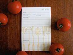 Utensils 4x6 Recipe Cards