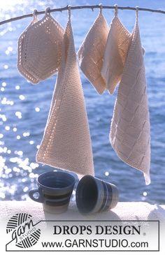 """2 DROPS håndklæder, 2 dækkeservietter og 2 par grydelapper i """"Paris"""". ~ DROPS Design  Fødselsdagsgave til svigermor :-)"""