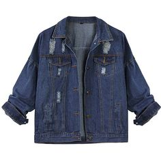 Women Autumn Loose Lapel Collar Ripped Pocket Long Sleeve Denim Jacket (€18) ❤ liked on Polyvore featuring outerwear, jackets, tops, coats, blue, lapel jacket, loose denim jacket, denim jacket, pattern jacket and long sleeve jacket