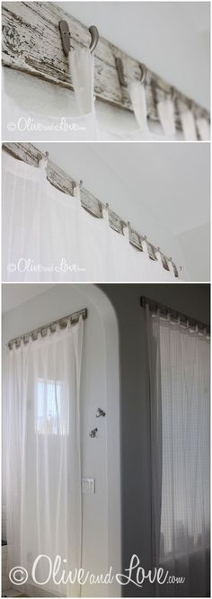 Unique way to hang curtains. Scrap wood from an old bench, cheap hooks from Home Depot and sheer curtains.