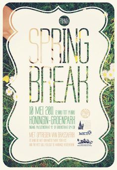 I really like the aesthetic design elements that are included in this poster and the overall look of it. The background is successful as it is seen through the letters of the title Spring break. Strong use of hierarchy seen by the text. The colours are simplistic and flat and work well with one another. The text holds a form of fun and formality. Design  by http://freefacebookcovers.net