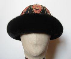 Pelshat / Pelshue. Fur hat, Model China, in mink. Handembroidered top, Christian Dior silk brocade. Handmade by Jane Eberlein, Samarkand, Copenhagen, Denmark. www.samarkand.dk