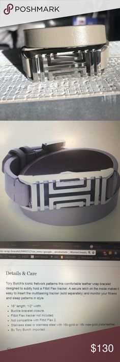 LIKE NEW: Tory butch fit bit leather wrap bracelet Tory butch fit bit leather wrap bracelet. Specs in photo 2. Bought but decided not to keep, I use my Fitbit for alarms and the sound it makes against the silver case it to loud for my liking. Used for 1 week. Tory Burch Accessories
