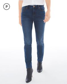 Chico's Women's So Slimming Petite Girlfriend Ankle Jeans, Nebula Indigo, Size: 1.5P (10P - M)