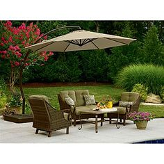 Garden Oasis  11.5 Ft. Steel Round Offset Umbrella W/ Sand Base