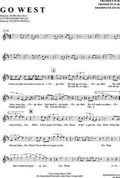Go West (Trompete in B) Pet Shop Boys [PDF Noten] >>> KLICK auf die Noten um Reinzuhören <<< Noten und Playback zum Download für verschiedene Instrumente bei notendownload Blockflöte, Querflöte, Gesang, Keyboard, Klavier, Klarinette, Saxophon, Trompete, Posaune, Violine, Violoncello, E-Bass, und andere ...