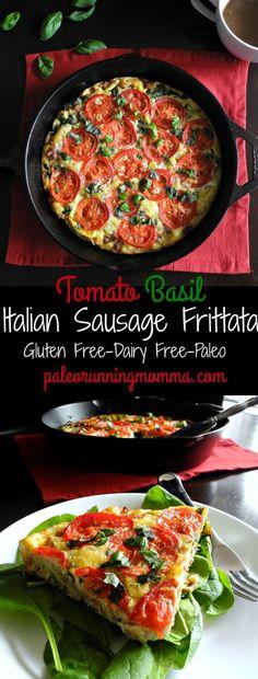 Sausage Tomato Basil Frittata (Paleo & Whole30)