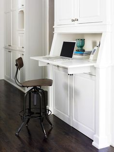 Hidden Desk Design Ideas, Pictures, Remodel, and Decor - page 2 Kitchen Office Spaces, Kitchen Desk Areas, Kitchen Desks, Smart Kitchen, Kitchen Interior, Hidden Desk, Built In Desk, Hidden Cabinet, Traditional Dining Rooms