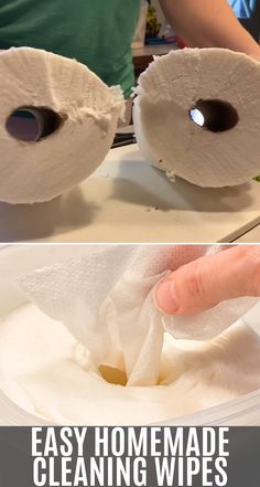 How to make homemade cleaning wipes with just 3 ingredients and half a roll of paper towels. The best DIY Clorox wipes for kitchens, bathrooms, and more. videos easy 3 ingredients Easy Homemade Cleaning Wipes with 3 Ingredients Homemade Disinfecting Wipes, Homemade Cleaning Wipes, Homemade Cleaning Supplies, Cleaners Homemade, Cleaning Hacks, Lysol Wipes, Diy Cleaners, Disinfectant Spray, Homemade Products
