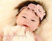 Shabby Chic Baby Flower Headband - Enchantment in Dusty Rose