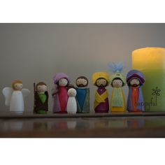 Handmade Nativity Set  This peg doll nativity set has been carefully handcrafted and handpainted.  Available from Happyful NZ