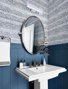 6 Key Elements to Create the Exciting & Fun Portland Powder Bath Emily Henderson Portland Traditional Powder Powder Room Wallpaper, Navy Wallpaper, Half Bathroom Wallpaper, Wainscoting In Bathroom, Powder Room Mirrors, Wallpaper For Home, Laundry Room Wallpaper, Powder Room Vanity, Powder Room Decor