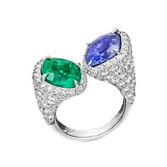 Emerald and Sapphire Twin Ring by Paolo Costagli