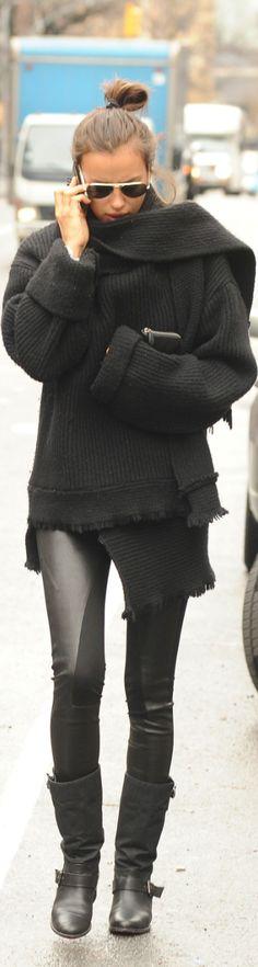 leggings - boots - sweater