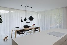 Haus by destilat 06 - MyHouseIdea Tom Dixon, Design Studio, Dining Table, Ceiling Lights, Curtains, Furniture, Architecture, Lighting, Projects