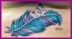 Purple & turquoise feather tattoo <3 My next one <3