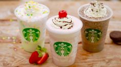 Starbucks FRAPPUCCINOS SECRET MENU (Birthday Cake, Oreo & Banana Split) ...