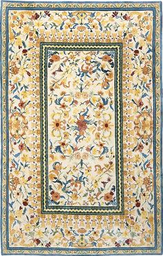 Aubusson - Cream, hand-knotted pure wool carpet available at www.tigerrug.net