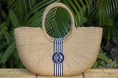 Monogram X-Large Straw Shoulder Basket Bag Black And White Ribbon, Straw Handbags, Straw Tote, Basket Bag, Summer Bags, Monogram Gifts, Resort Wear, Preppy, Fashion Accessories