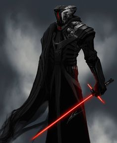 As I was creating this guy( painting mixed with photography) I was trying out different weapons to put in his hand. After a few unsatisfactory attempts, the new Sith light saber popped in my head. ...
