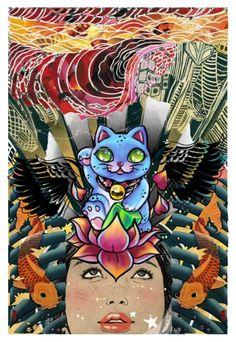 """MANEKI-NEKO"" by synkopika ❤ liked on Polyvore featuring art"