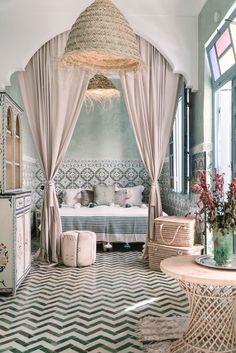 11 Romantic Bedroom Ideas from Morocco – Moroccanzest Morrocan Interior, Morrocan House, Moroccan Room, Moroccan Home Decor, Moroccan Design, Moroccan Lanterns, Moroccan Tiles, Moroccan Living Rooms, Moroccan Bedding