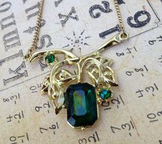 Vintage Costume Emerald Green Leaf Necklace by EuphoriaNineDesigns, $22.00