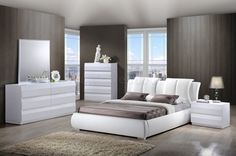 8269-Bailey Bedroom in White by Global w/Platform Bed & Options