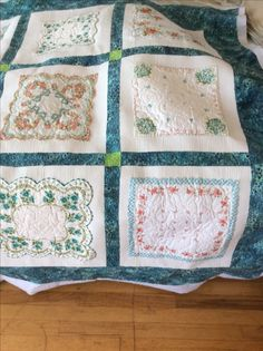 This hankie quilt was quilted by doodlemoochie