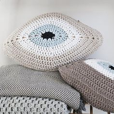 Evil Eye Pillow Beige