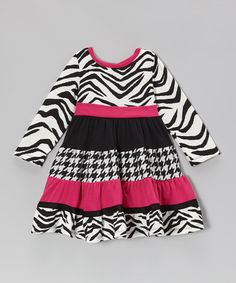 Take a look at this Black & Fuchsia Zebra Dress - Toddler by Rare Editions on #zulily today!