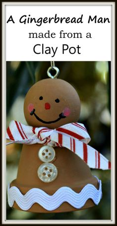 I love making Christmas ornaments, especially from clay pots. Today I'm sharing an ornament I made years ago. This project is a gingerbread man from a clay pot. Some of the ornaments I have made are more complex but the gingerbread man is pretty easy. Gingerbread Crafts, Gingerbread Decorations, Christmas Gingerbread, Christmas Decorations, Christmas Clay, Christmas Ornaments To Make, Simple Christmas, Christmas Projects, Christmas Tree