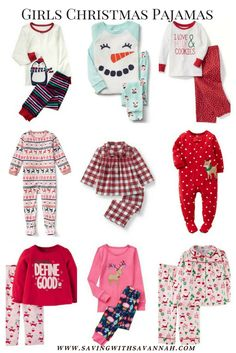 Round up of my Favorite Christmas Pajamas for girls. These pajamas are for  both Baby and Toddler girls. ab61854af