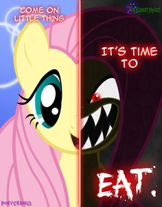 Dark Fluttershy - Equirin Infestation by PonyChaos13 on deviantART... Wow now I just think of Chica...
