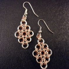 copper and silver chain maille earrings on french wires