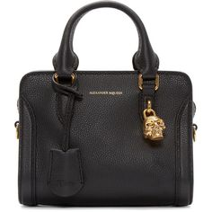 Alexander McQueen Black Mini Padlock Tote (56,275 PHP) ❤ liked on Polyvore featuring bags, handbags, tote bags, zipper tote, structured leather tote, zippered tote bag, mini tote bag and leather purses