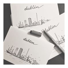 Working on a few orders tonight: Dublin skyline in the making. Hand drawn Dublin skyline card, also to frame. Each one is unique and numbered 🖤 Etsy link in bio. Dublin Shopping, Dublin Travel, Dublin Food, Dublin Nightlife, Dublin Skyline, Dublin Things To Do, City Outline, Skyline Tattoo, Trinity College Dublin