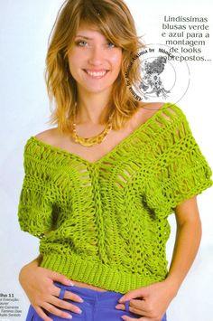 Pattern: Hairpin Crochet Top. Page 1: http://1.bp.blogspot.com/-8sL3VLU8v0Y/UTC5gDtNCRI/AAAAAAAAHqk/8PMYCObzX4c/s1600/grampo+verde+2.jpg Page 2: http://4.bp.blogspot.com/-odj0pUAm7V8/UTC5iYz4kMI/AAAAAAAAHqs/9WOLmZIN0p8/s1600/grampo+verde3.jpg