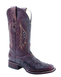 Corral Distressed Brown/Dark Brown Lizard Inlay Boots