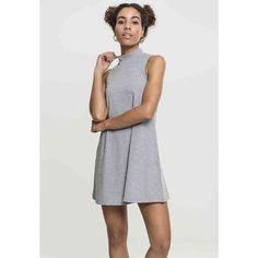 9990c52e1b86 Urban Classics Ladies A-Line Turtleneck Dress gray