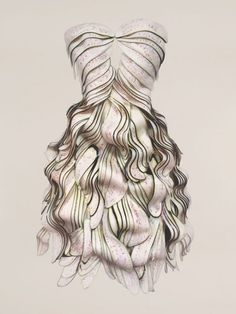 fabric manipulation. I think this is spectacular the way the layers of fabric lay.  It reminds me of a beautiful layered hair cut.