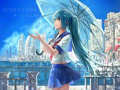 hatsune miku//blue//umbrella//