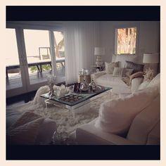white & beige living room