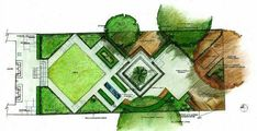 Diagonal square lawn fits garden design theme and widens impression of the garde. Diagonal square lawn fits garden design theme and widens impression of the garde. Garden Design Plans, Modern Landscape Design, Landscape Architecture Design, Landscape Plans, Modern Landscaping, Backyard Landscaping, Layout Design, Design Tropical, Design Patio