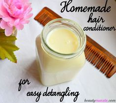 A homemade DIY shea butter hair conditioner for easy detangling & silky hair