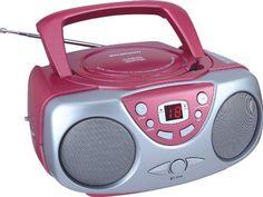 Sylvania SRCD243 Portable CD Player with AM/FM Radio  Boombox (Pink) #Sylvania
